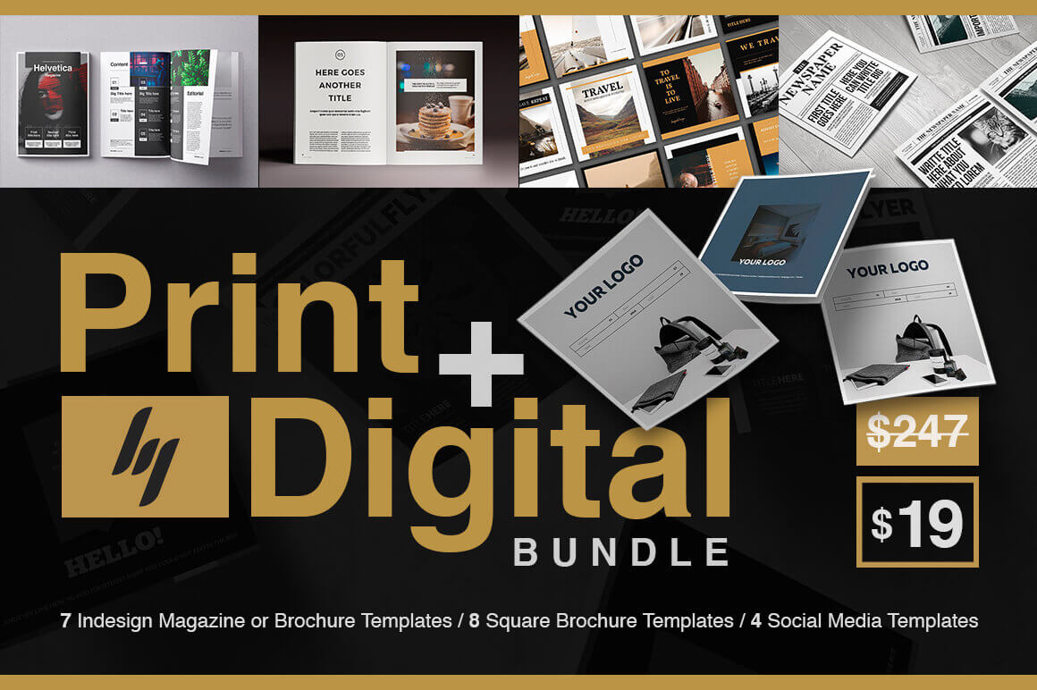Indesign Print And Digital Bundle Of 200 Customizable Pages Only