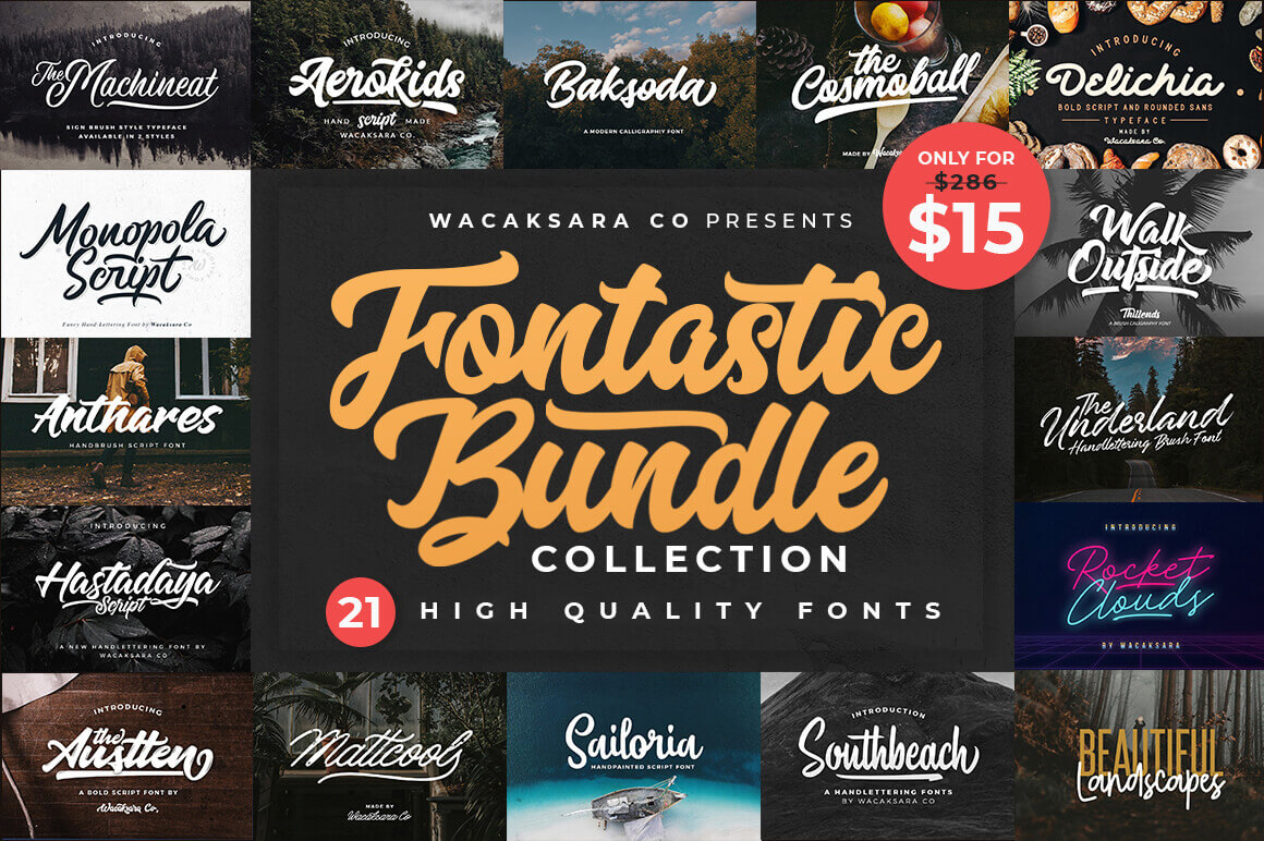 LAST CHANCE: EXCLUSIVE! Bundle of 21 High-Quality Fonts - only $15