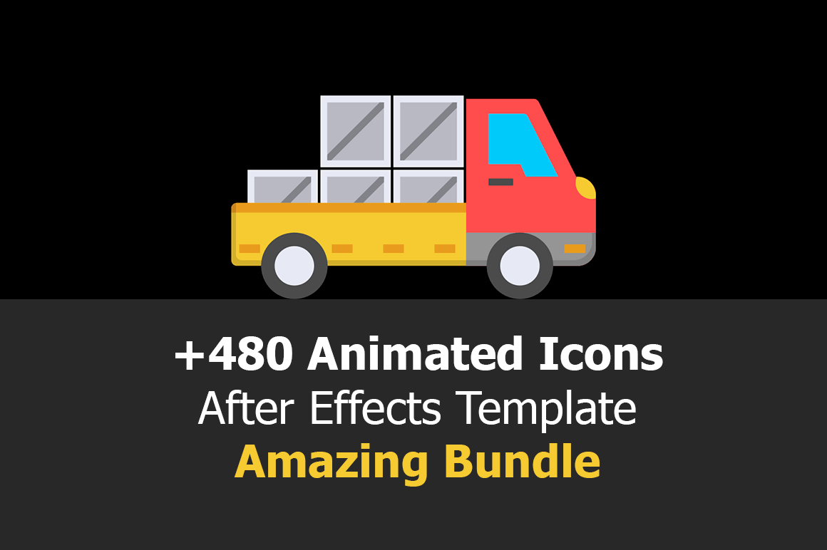 480+ Royalty Free Animated Icons After Effects Template - only $9