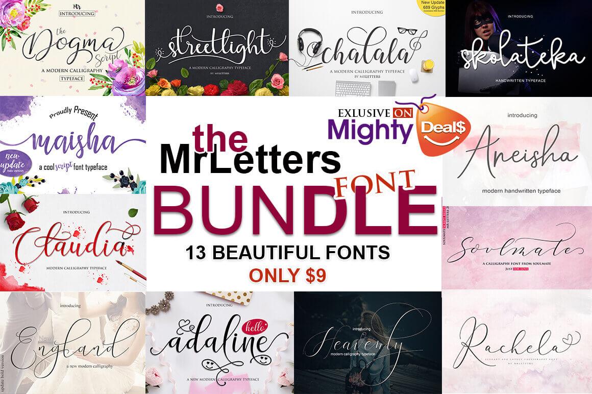 The MrLetters Font Bundle of 13 Modern Script Typefaces