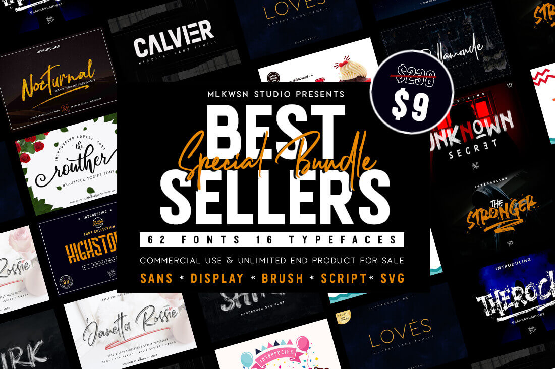 60+ Best Selling Fonts from MLKWSN Studio - only $9! - MightyDeals