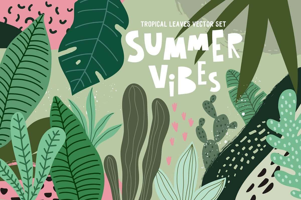 Tropical Leaves Bundle With 25 Vectors Only 9 Mightydeals Tropical pattern floral tropical leaves flamingo palm tree summer palm beach pineapple hawaii tropical background watercolor luau. tropical leaves bundle with 25 vectors