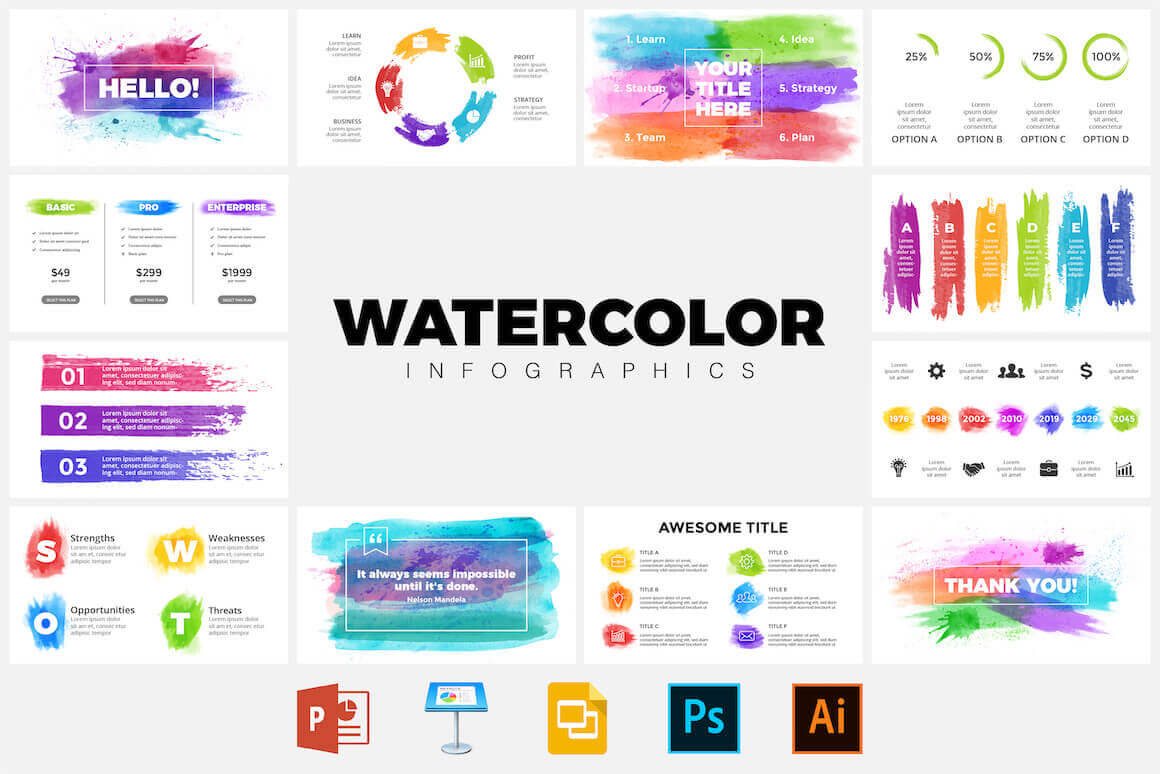 50  watercolor infographic templates - only  5