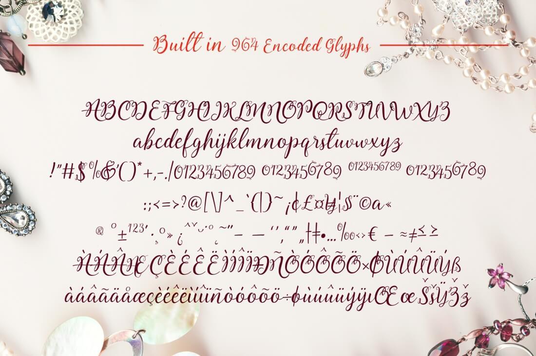 Lovely Melissa, a Modern Script Font Including 964 glyphs ... - photo#7