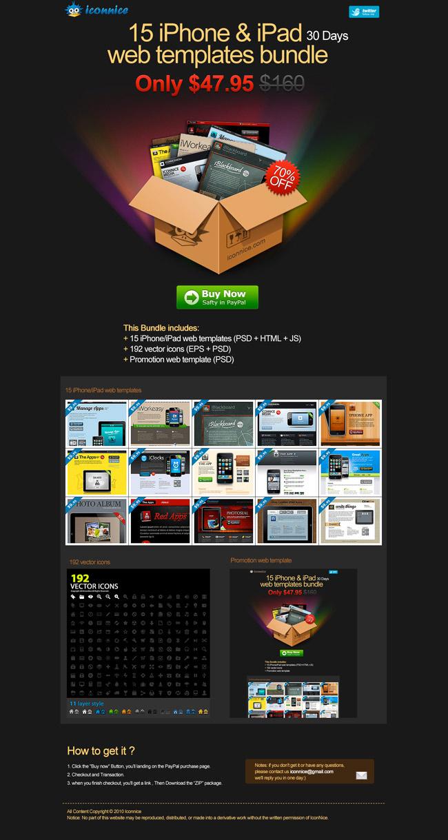 15 iPhone + iPad App Website Templates - only $24 - MightyDeals