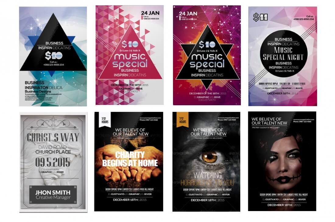 100 professional  print-ready event flyers - only  9