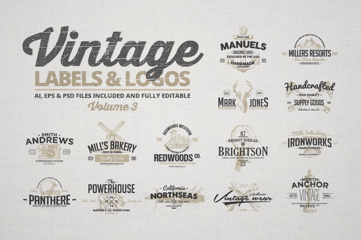 LAST CHANCE 150 Vintage Logos And Photo Mock Ups Bundle