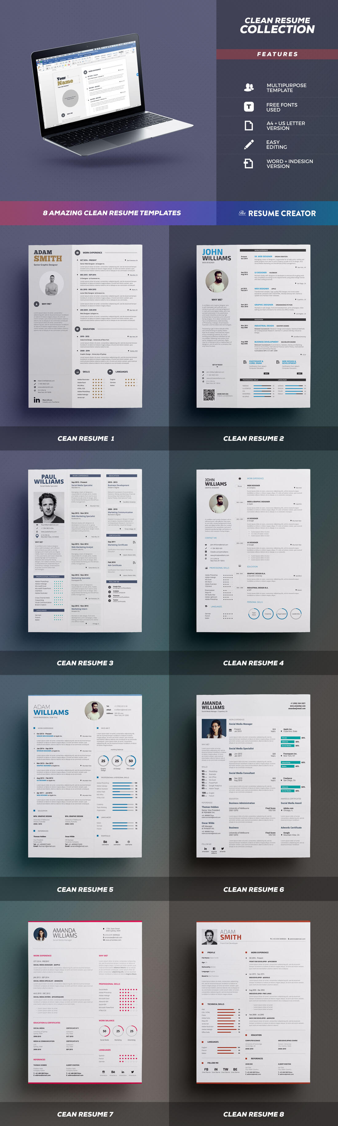 Last Chance  PrintReady Creative Resume Templates From