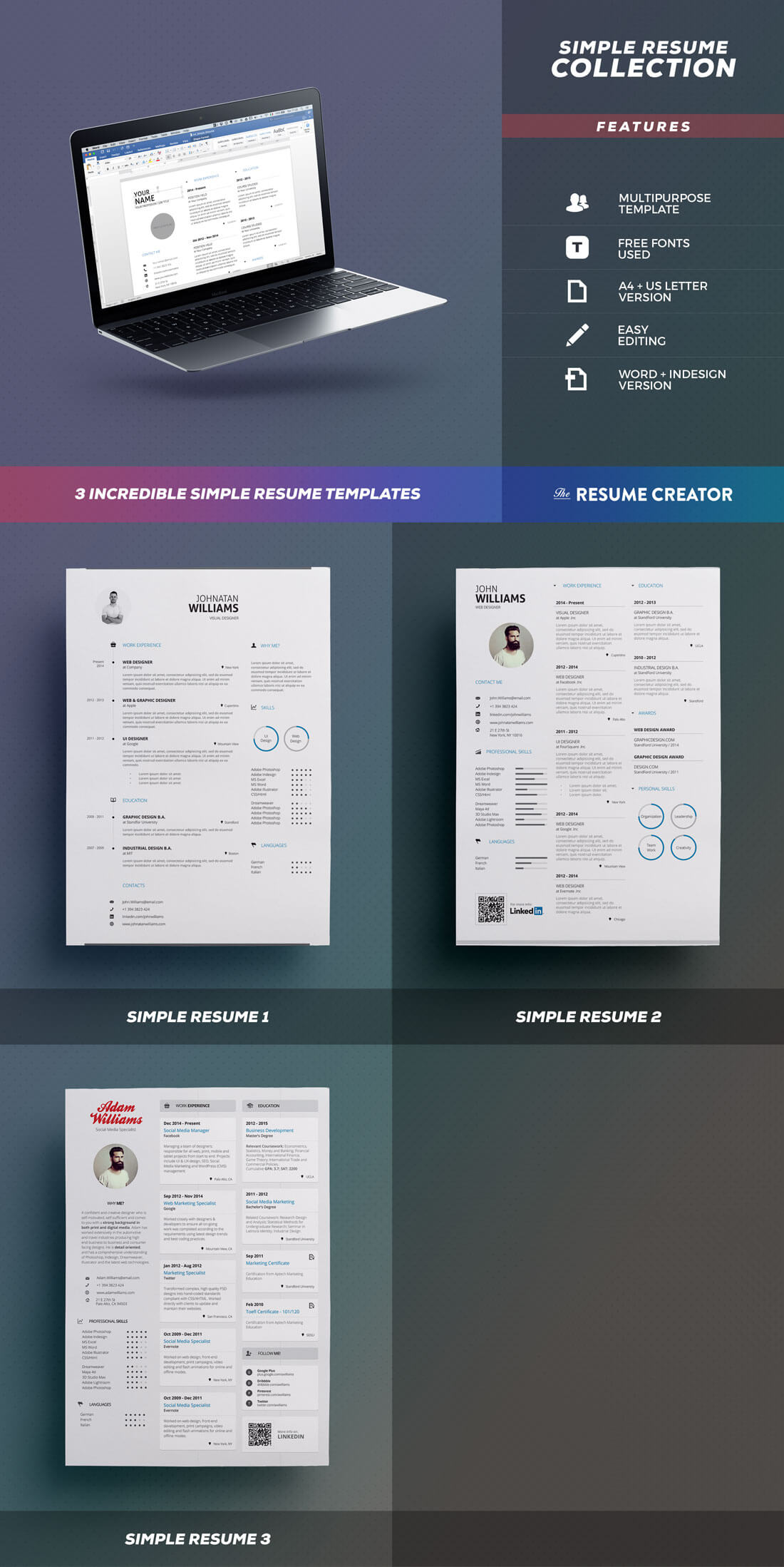 previews - Creative Resumes Templates