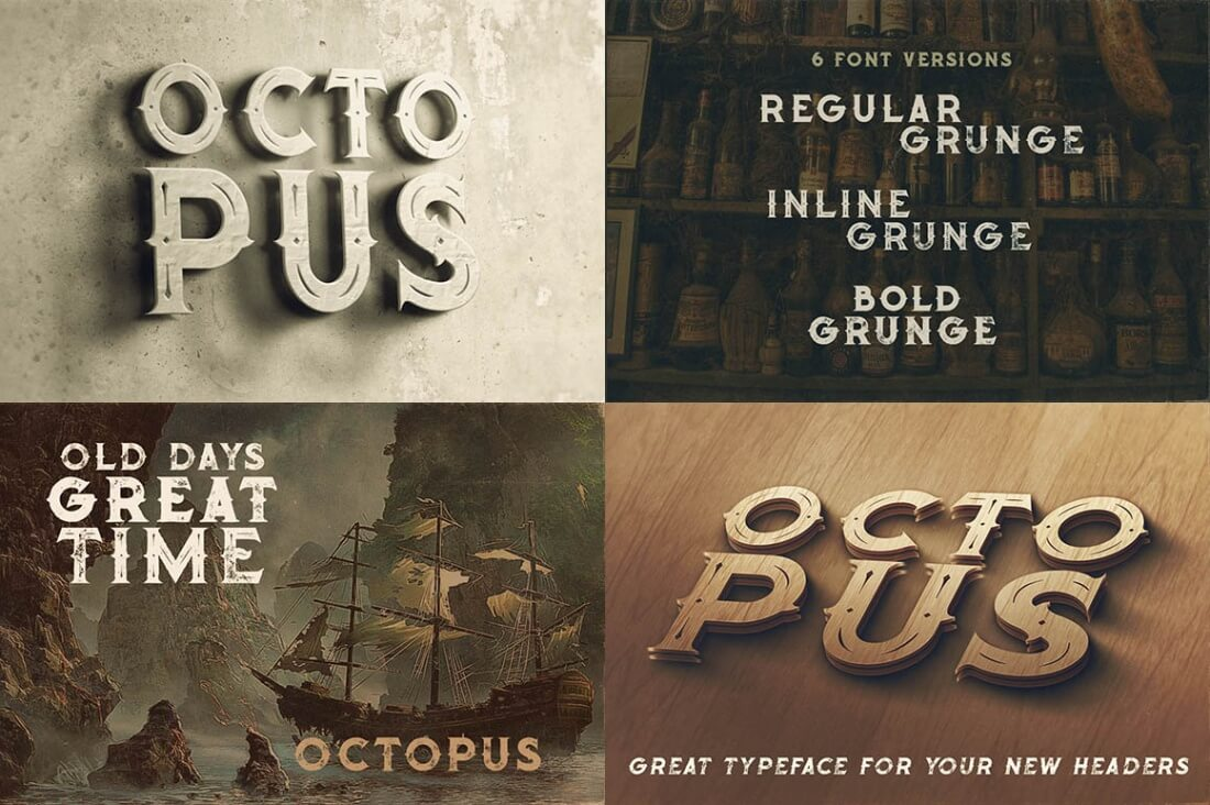 230 Grunge, Retro and Vintage Fonts with Extended License - only $29