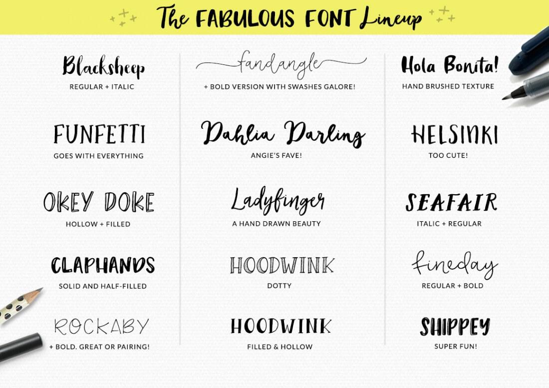 Glorious Font Bundle: 21 Fonts, 60 Patterns, 200 Doodles