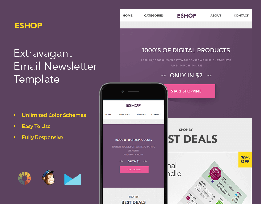 Bundle Of Email Newsletter Templates MailChimp Compatible Only - Free digital newsletter templates