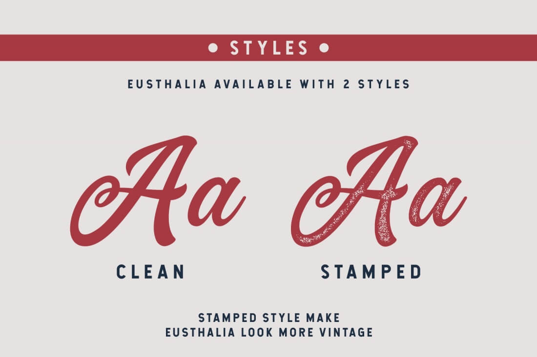 Beautiful, Flowing Eusthalia Typeface with 2 Unique Styles
