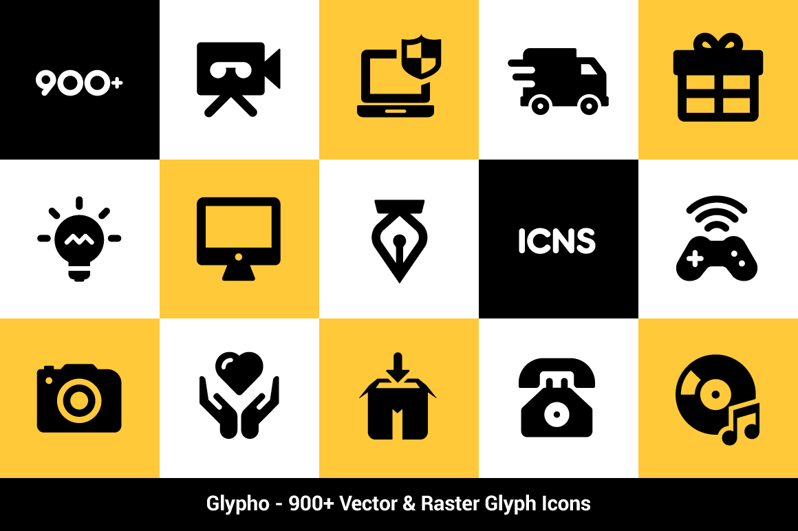 Last Chance Glypho Icon Pack 900 Bold Vector Raster Icons