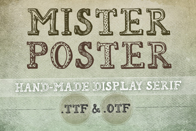 Hand-Drawn Mister Poster Font + Free Brush Set - only $7