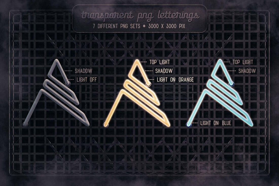Neon Light Lettering Kit with Fonts, Textures, Scenes and