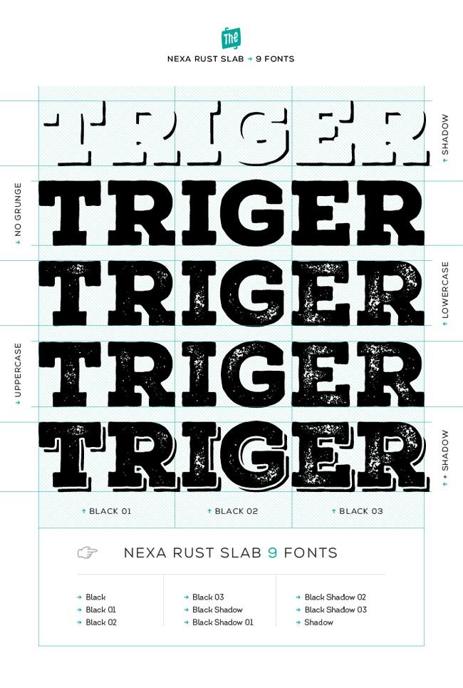 NEXA RUST - Super Mega Pack of 83 fonts (5 sub-families