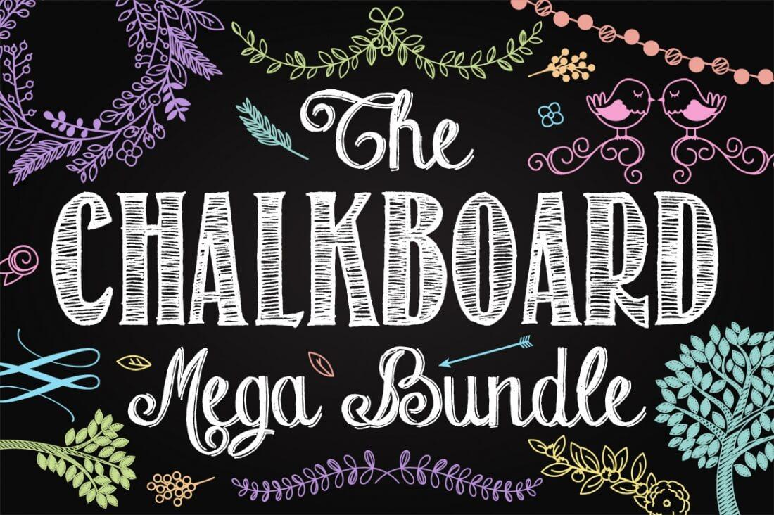 200 premium vector chalkboard elements from pink pueblo only 24