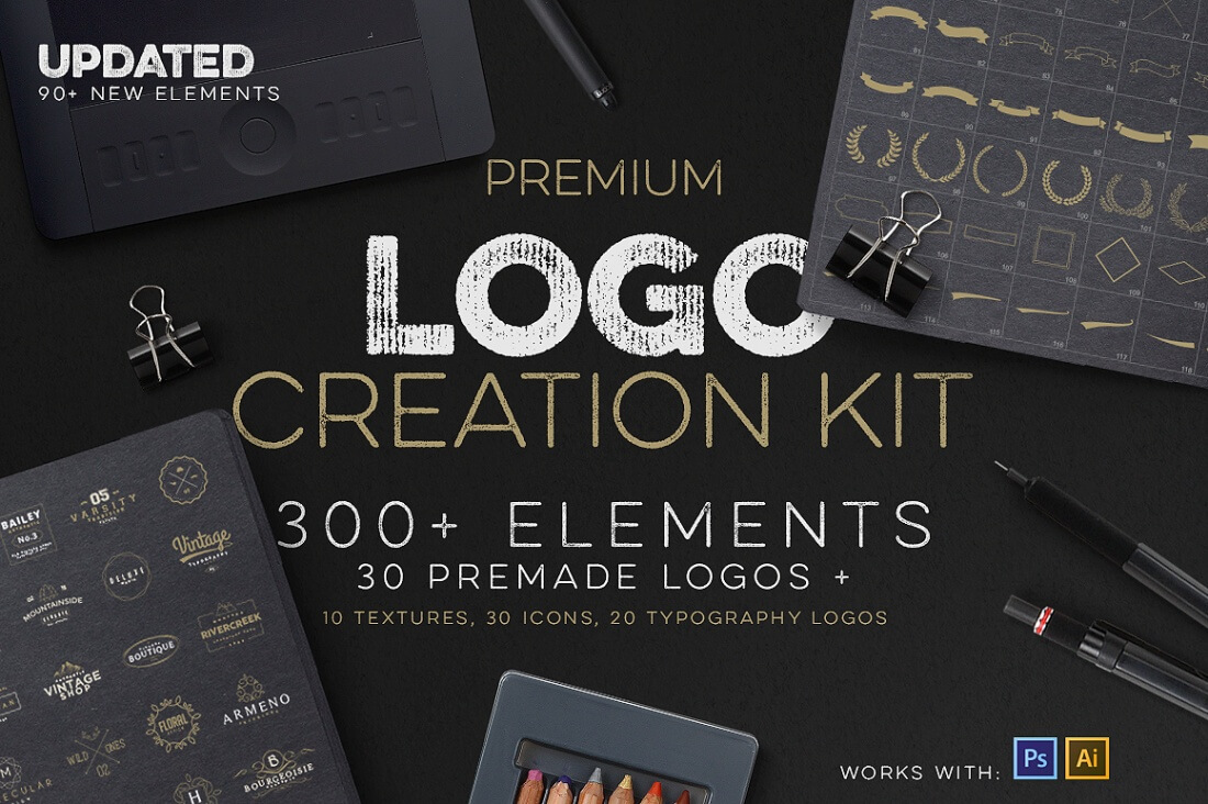 Professional Logo Creation Kit Bundle With 500 Elements