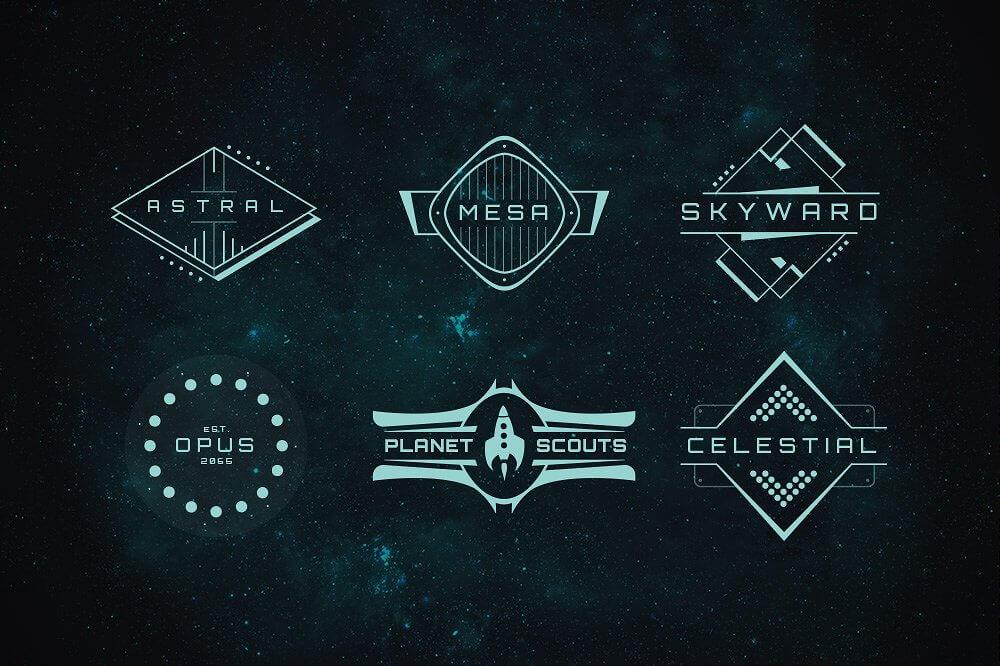 Sci-Fi Bundle: Space Fonts, Backgrounds, Logos, UI Kit