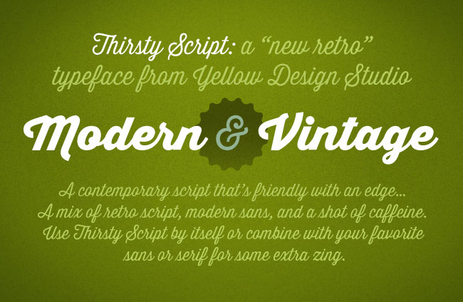 Modern-Yet-Retro Thirsty Script Font Family - only $9