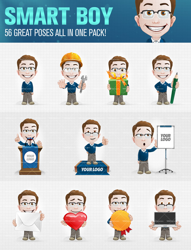 10 Professional Cartoon Characters in 400 poses only 24