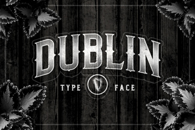 A Fabulous Vintage Font Dublin Is Inspired From Old English Road Sign Letters And Comes In Two Versions Regular Spurs