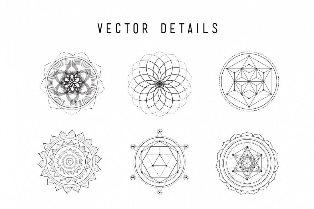 Ultimate Sacred Geometry Bundle of 50+ Customizable Vectors