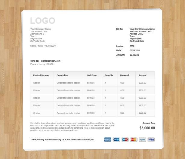 Wood Invoice