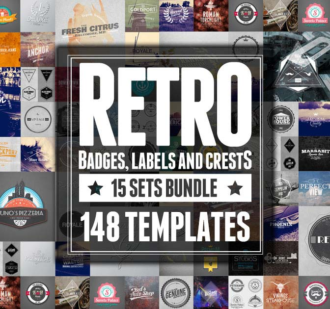 148 Retro Labels, Badges Crests Bundle - only $12!