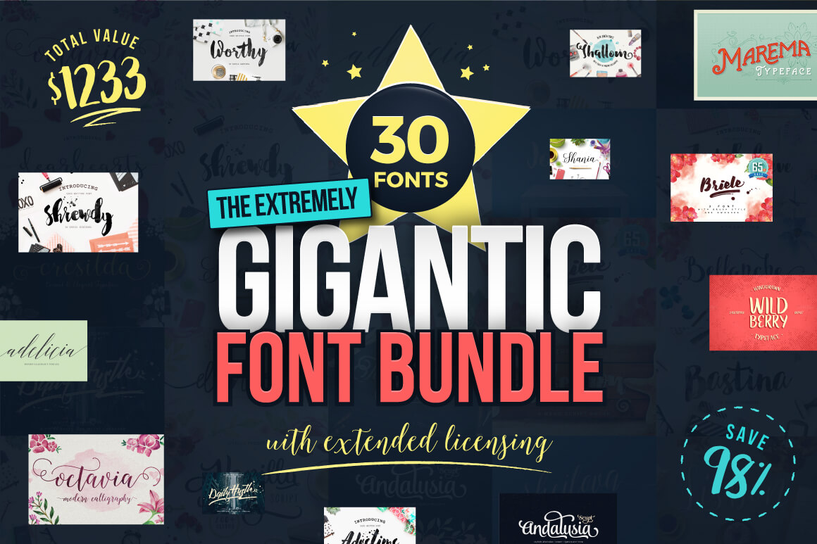 LAST DAY: The GIGANTIC Font Bundle (30 Fonts with Extended