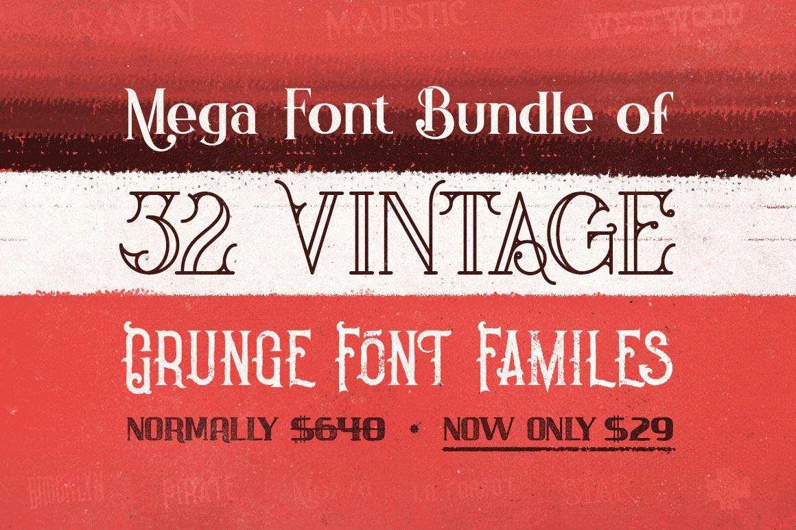 Mega Font Bundle Of 32 Vintage Grunge Families Only 29 Rodeo Bundling 3 Maroon S
