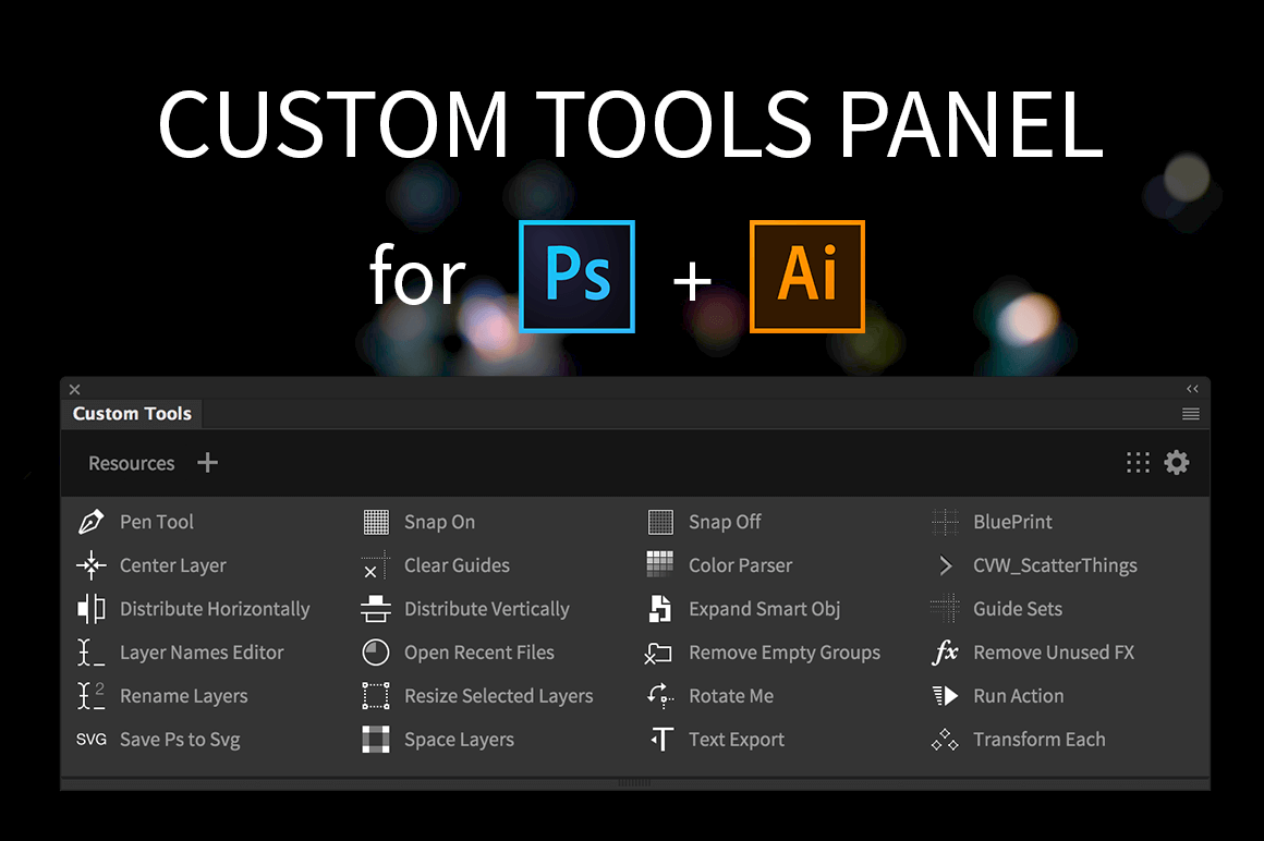 Build your own custom Photoshop and Illustrator panels
