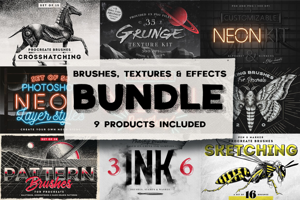 100+ Unique Brushes, Textures & Effects - only $17