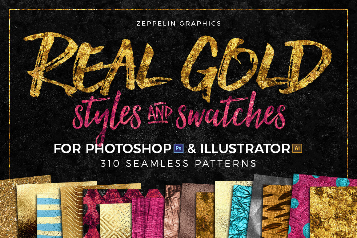 300+ Gold Glitter Foil Styles and Swatches - only $9